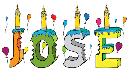 Jose name with colorful 3d lettering birthday cake with candles and balloons.