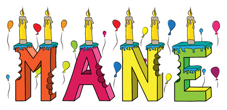 Mane female first name bitten colorful 3d lettering birthday cake with candles and balloons. Vector illustration.