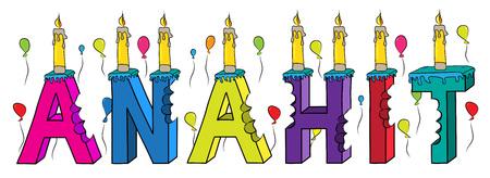 Anahit nome femminile pungente colorato 3d lettering torta di compleanno con candele e palloncini.