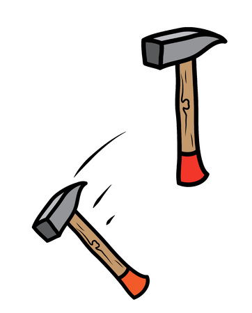 Heavy metal hammer hand tool, static and swing. Illustration