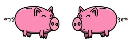 Happy and fat piggy bank couple in cartoon style, illustration for kids.  イラスト・ベクター素材