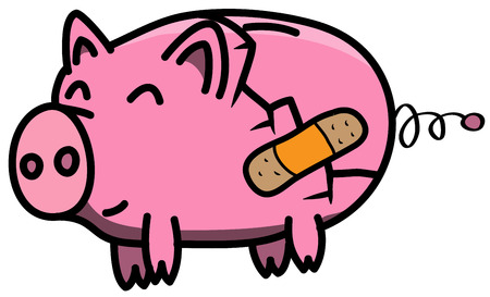 Broken pink piggy bank in cartoon style happy with treated wound using plaster. Illustration