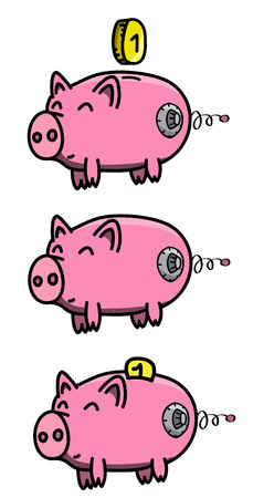 Pink, clean, shiny, happy and fat pig safe in cartoon style with golden coin and safe lock wheel. Vector illustration.