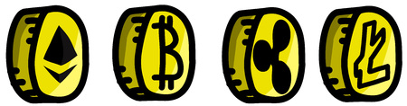 Gold cryptocurrency coins set, Etherum, Bitcoin, Litecoin and Ripple.