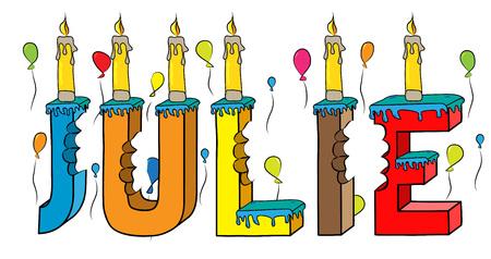 Julie nome femminile pungente colorato 3d lettering torta di compleanno con candele e palloncini. Illustrazione vettoriale Vettoriali
