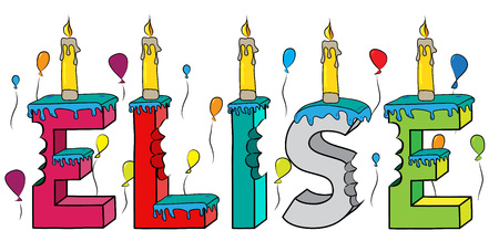 Elise nombre femenino mordido colorido 3d letras pastel de cumpleaños con velas y globos.
