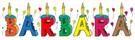 Weiblicher Vorname Barbaras gebissener bunter Geburtstagskuchen der Beschriftung 3d mit Kerzen und Ballonen. Standard-Bild - 97920375