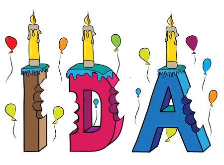 Ida female first name bitten colorful 3d lettering birthday cake with candles and balloons. Vettoriali