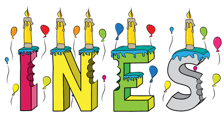 Ines female first name bitten colorful 3d lettering birthday cake with candles and balloons. Illustration
