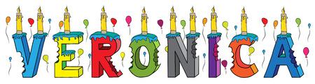 Veronica nombre femenino mordido. Colorido pastel de cumpleaños de letras 3d con velas y globos.