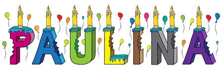 El nombre de la mujer Paulina mordió la colorida torta de cumpleaños de letras 3d con velas y globos.
