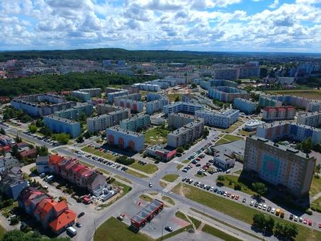 Koszalin medium polish city, block flat houses, high desnsity, roads, aerial view.
