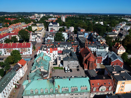 KOSZALIN, POLAND - 03 AUGUST 2018 - Aerial view on city Koszalin, area of gothic Cathedral and city center Editorial