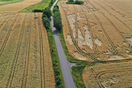 Aerial drone perspective on damaged wheat field after wind storm, rural landscape with asphalt road.