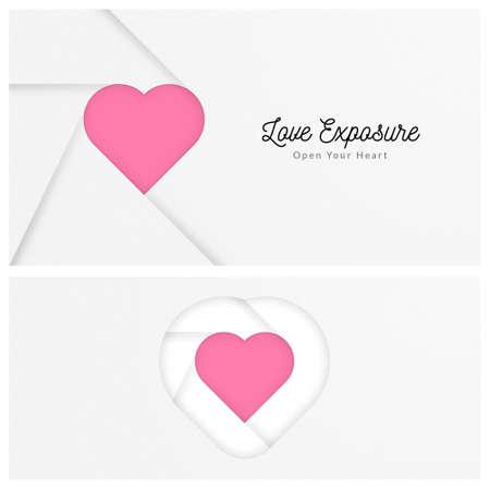 Love Exposure hearts Vector illustration. Çizim