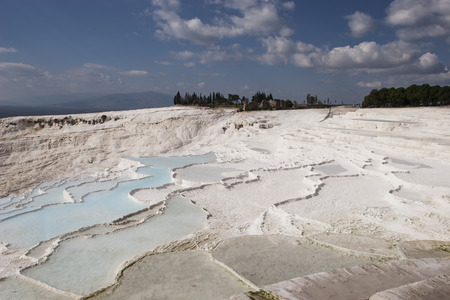 Famous travertine pools and terraces at Pamukkale in Turkey  photo
