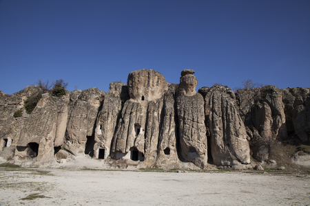 the rock-hewn churches in klistra , turkey photo