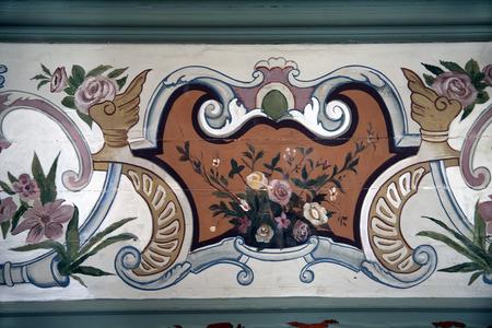Ottoman Style Painting Pattern on the wooden door in Topkapi Palace photo