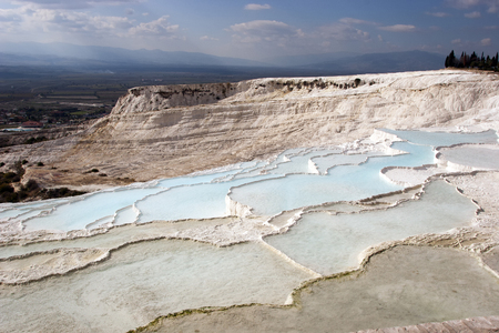 precipitate: Famous travertine pools and terraces at Pamukkale in Turkey Stock Photo