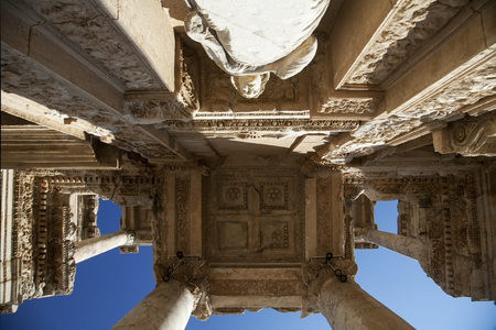 greco roman: The Library of Celsus, built in A.D. 135, in the ancient city of Ephesus Stock Photo