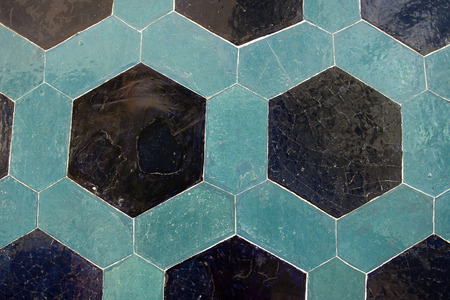Ancient tile pattern on ceramic wall in ?stanbul Archeology Museum photo