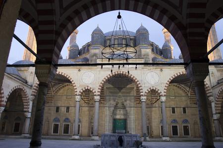 the selimiye mosque: Classical Ottoman Mosque Architecture : Selimiye, Edirne Stock Photo