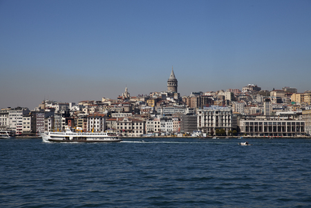 constantinople ancient: View from Istanbul with Galata Tower and the ferry Stock Photo