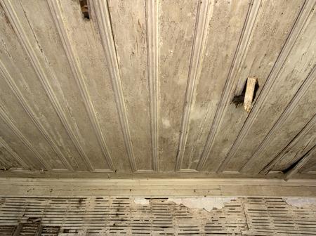 damaged house: Vintage Abandoned Damaged house wooden ceiling