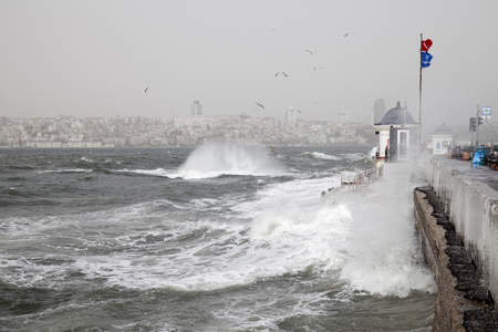 southwest: Maidens Tower and southwest wind storm in Istanbul