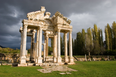 aphrodite: Famous Tetrapylon Gate in Aphrodisias Turkey dedicated to Aphrodite built during Hellenic era. In Roman time it was a small city in Caria.