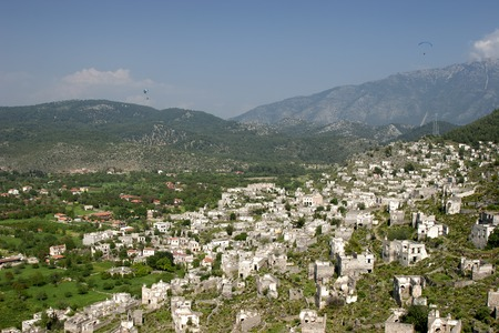 Kaya Village or Kayakoy also known as Karmylassos and Levissii. Stock Photo