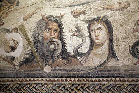 tethys: Mosaic of Oceanus and Tethys from Ancient city Zeugma in Turkey Stock Photo