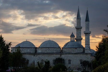 camii: silhouette of Old Mosque at sunset Eski Camii in Edirne