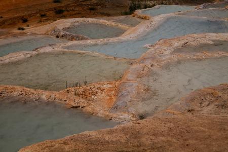 Hot mineral water Karahayit natural travertine pools in Pamukkale,Denizli Turkey.