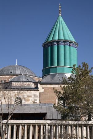 sufi: Tomb of Mevlana, the founder of Mevlevi sufi dervish order, with prominent green tower in Konya, Turkey