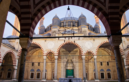 selimiye mosque: Classical Ottoman Mosque Architecture : Selimiye, Edirne Stock Photo