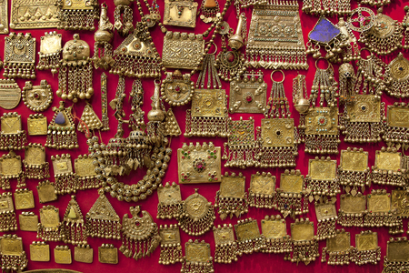 gold souk: Gold craftsmanship jewelery accessories at Grand Bazaar store Istanbul,Turkey. Stock Photo