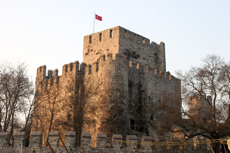 hisari: Anadoluhisari Anatolian Castle and Asian side of Istanbul, Turkey Editorial