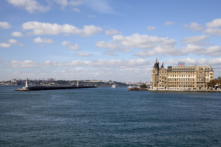 haydarpasa: ISTANBUL, TURKEY - NOVEMBER 02, 2015: Haydarpasa railway terminal in the Asian part of Istanbul. Built in 1909 by the Anatolian Railway, has become a symbol of Istanbul and Turkey.