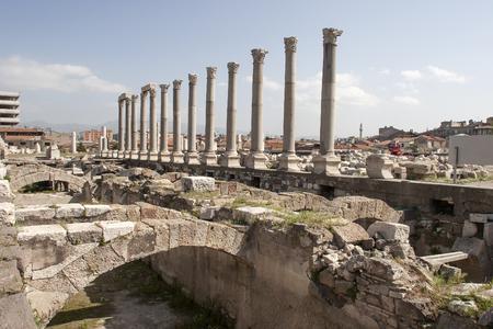 portico: Columns and arches, portico fragment , ruined roman temple in Smyrna. Izmir, Turkey