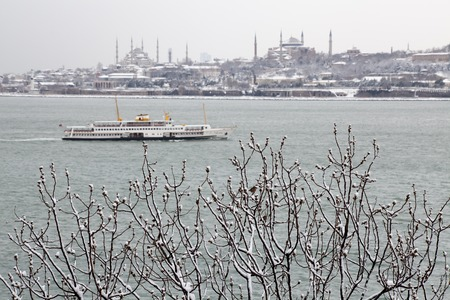 greek currency: Hagia Sophia Museum and Sultanahmet Mosque at Snowy Winter