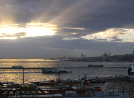 january sunrise: ISTANBUL, TURKEY - JANUARY 01, 2015: Sunrise on bosphoorus.From Harem Port in Istanbul. Editorial
