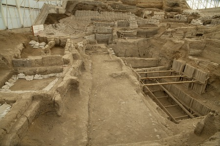 existed: Catalhoyuk ,Konya - March 23,2014 : Oldest town in the world  in Turkey. It is the largest and best-preserved Neolithic site found to date, it existed about 7500 BC.