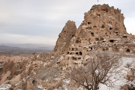Uchisar Castle in Cappadocia, Turkey. The special stone formation of Cappadocia.