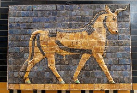Bull on Babylonian mosaic, fragment of the Ishtar Gate in Istanbul, Turkey
