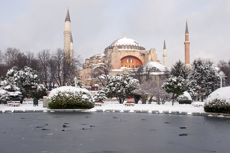 Hagia Sophia in winter day with snow, Istanbul, Turkey;