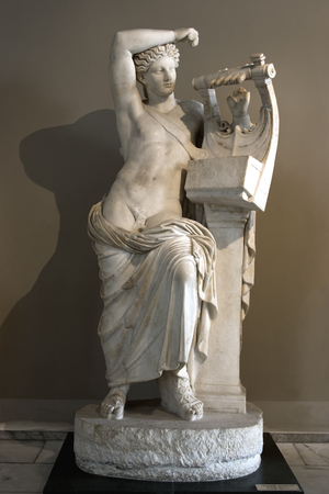 TURKEY - MAY 07 , 2007 : APOLLON (Apollo) is  the god of music, arts and poetry in mythology .He was depicted as a handsome, beardless youth with long hair in Istanbul Archaeology Museums, Istanbul Editorial
