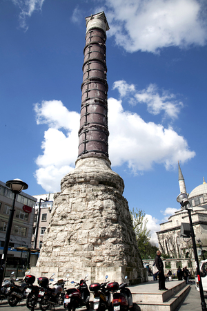 The ancient column of Constantine (Burnt Column) in Istanbul, Turkey. It is the greatest monuments of Byzantine Culture.