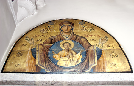ISTANBUL, TURKEY - JUNE 17, 2006: Fresco of Virgin Mary and Infant Jesus Christ in the Orthodox Patriarchal Church of Saint George in Fener District, Istanbul, Turkey