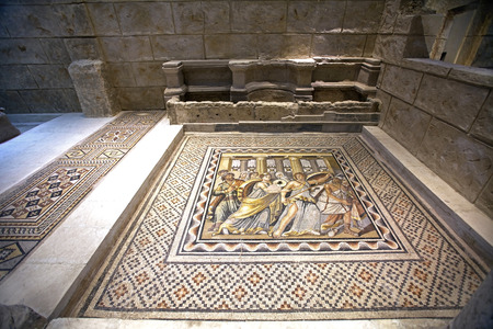 GAZIANTEP, TURKEY - DECEMBER, 15 2017: Zeugma Mosaic Museum,one of the largest mosaic collection in the world.The ancient city of Zeugma is known to have been founded by Alexander the Great in 300BC. 에디토리얼
